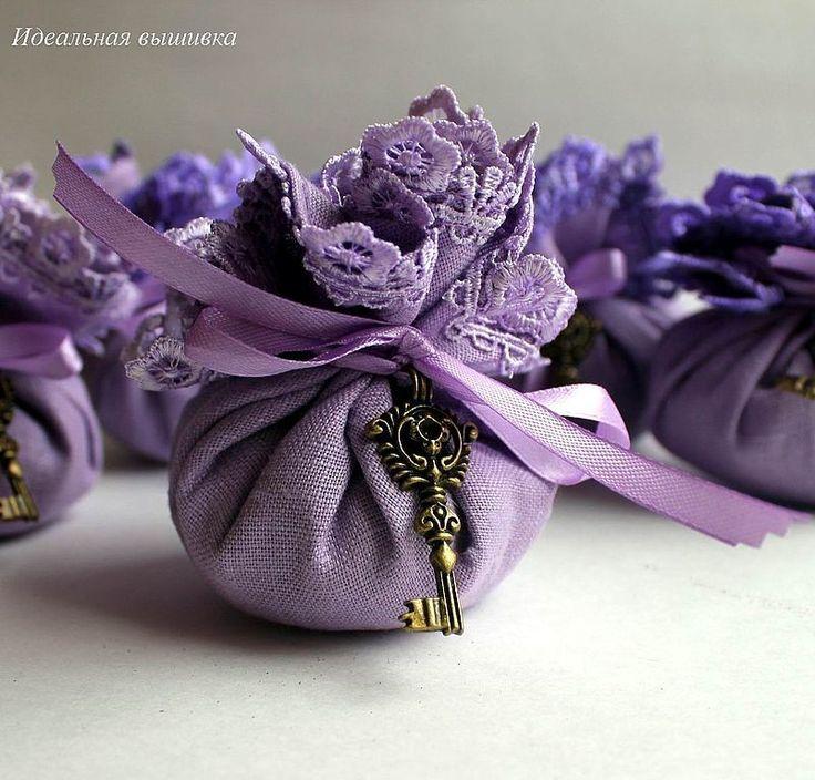 """Купить Льняное саше с лавандой """" Старинный ключ - лиловый"""" - фиолетовый, лиловый, сиреневый"""