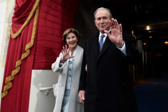 President George W. Bush looks like a dad attending his daughter's wedding... to Chris Brown. - Provided by TheWrap