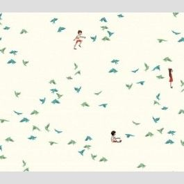 With the Birds - Seafoam - Wee Wander by Sarah Jane - Michael Miller Fabrics