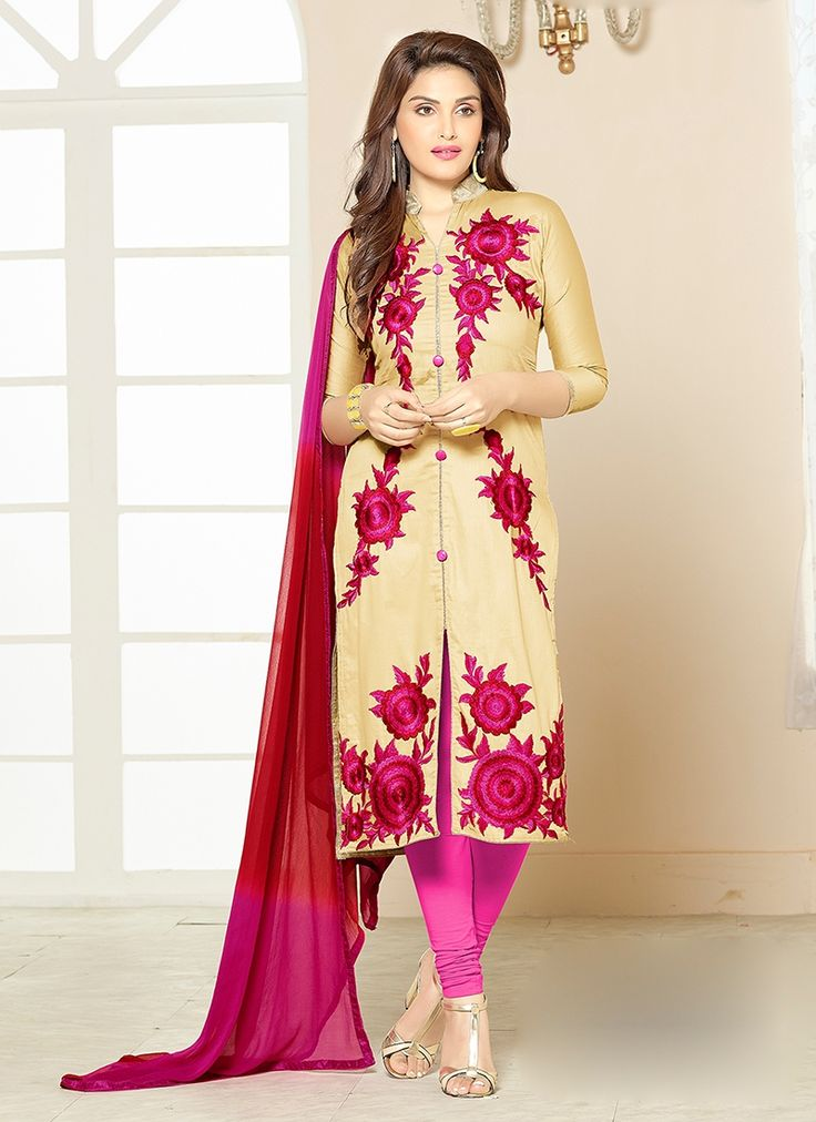 Keep ahead in fashion with this beige cotton churidar designer suit. This attire is encrafted with embroidered and resham work. #salwarkameez #churidarsuits #designersalwarkameez #designerdresses #bollywood #partywear #bridalwear #allthingsbridal #zukreat #bridalsuits #ethnicfashion #celebrity #bollywood #bollywooddesigns #bollywoodsuits #partywear #collection #wedding
