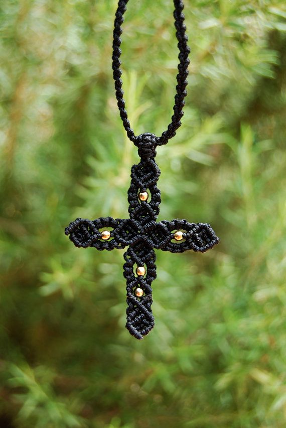 Macrame cross with beads. by MitosKnitwear on Etsy