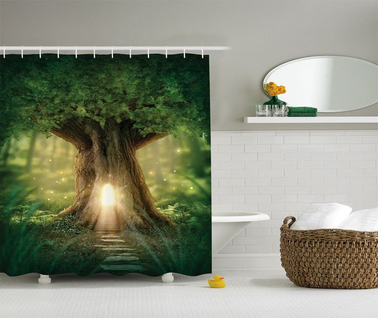 Fairy Tree of Life Light in Rainforest Scene Polyester Fabric Shower Curtain Set - Walmart.com