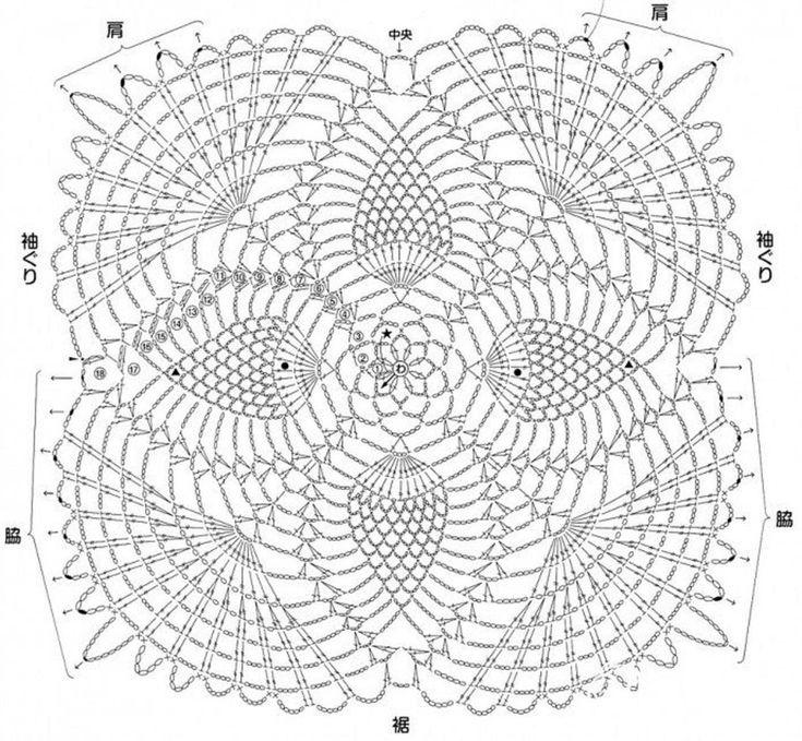 punto piña a crochet graficos - Buscar con Google