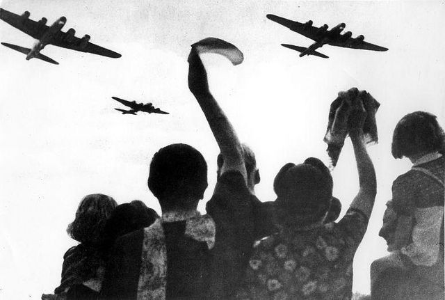 World War II. Liberation of Holland. Dutch people waving at allied planes. The Netherlands, location unknown, 1945.