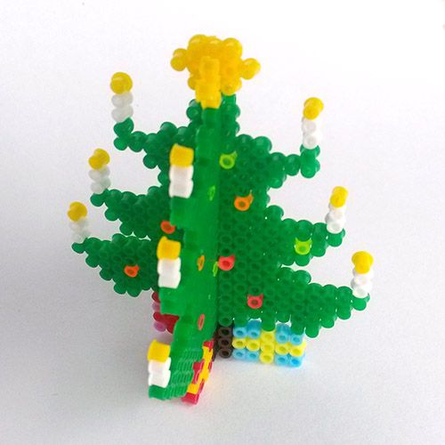 3D Christmas Tree - Hama mini perler pattern (6 cm)