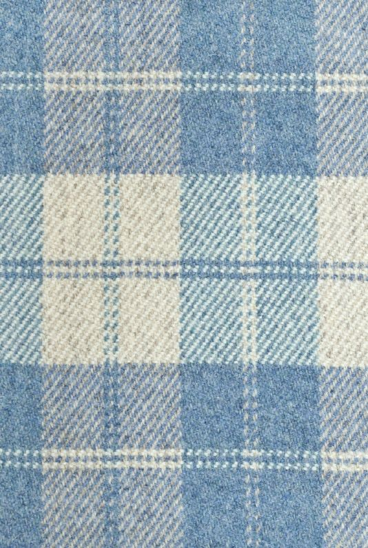 Drummond Wool Plaid Fabric 100 Wool Fabric In Pale Blue