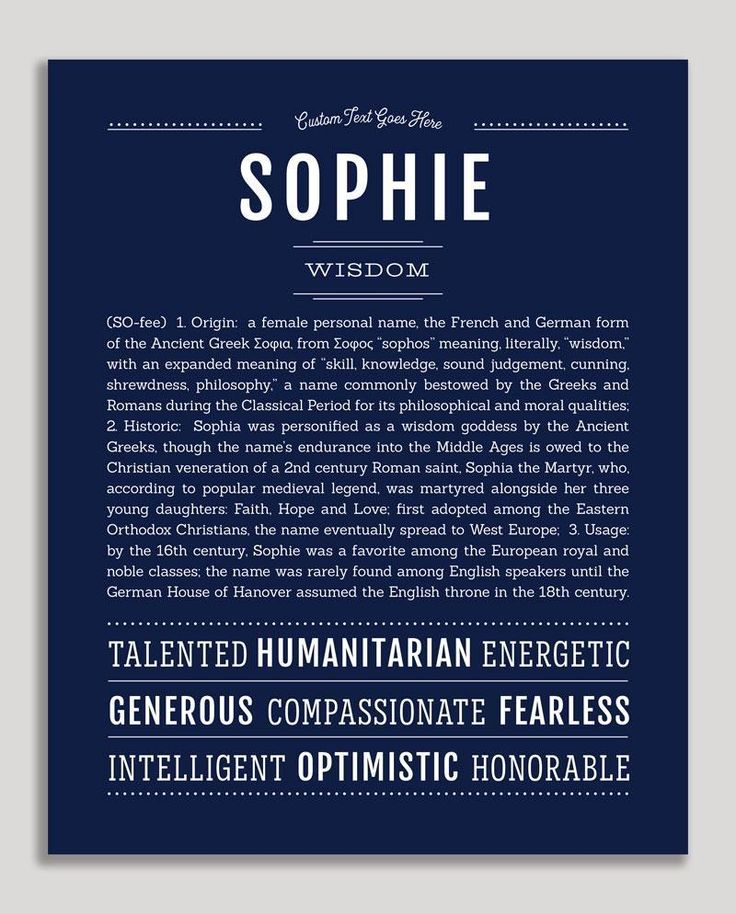 Sophie | Classic Name Print | Classic names, Names, Names ...