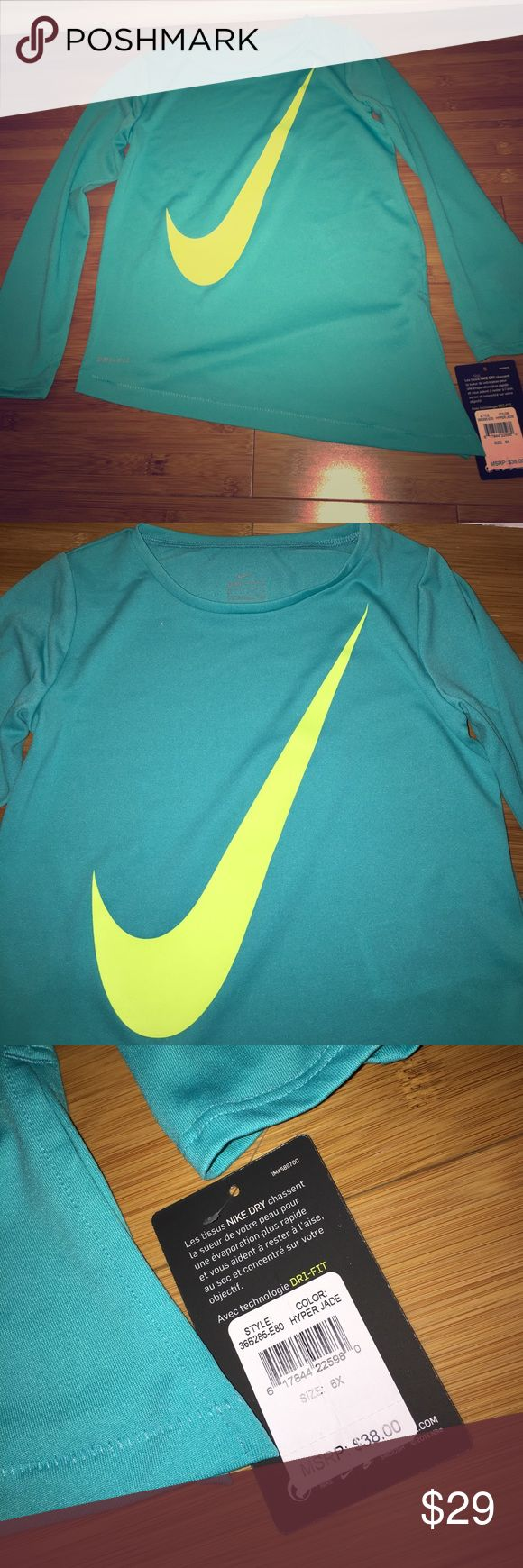 NWT GIRLS SIZE 6X NIKE TOP NWT GIRLS SIZE 6X NIKE TOP TEAL COLOR. TAGS ATTACHED NEVER WORN. BUY 2, SAVE 10% BUY 3, SAVE 15%. Nike Shirts & Tops Tees - Long Sleeve