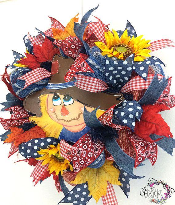 Deco Mesh Fall Scarecrow Wreath Autumn Wreath Fall Burlap