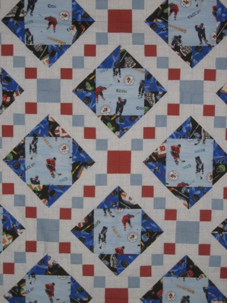 ~ Hockey Theme Quilt ~   by Laura Grena-Meiszner 2010