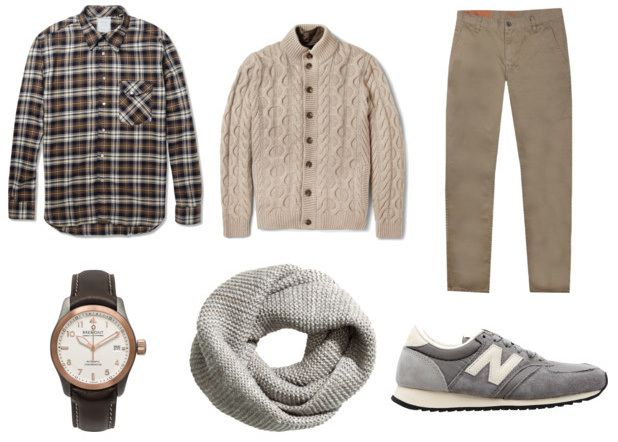 Men outfit. Grey and beige. New balance