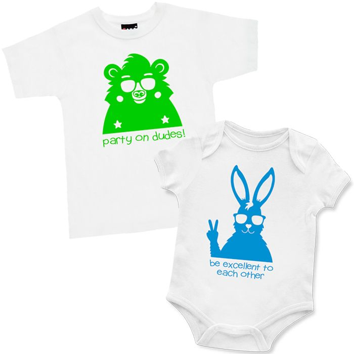 Be Excellent & Party On T Shirt & Onesie Set