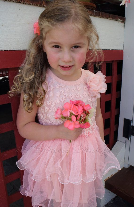 Baby girls pink flower lace tutu princess dress - Perfect for christening, party, flower girl, birthday girl.. on Etsy, $35.00