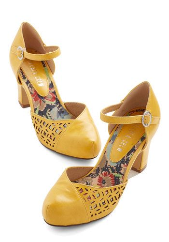 Vivacious Visit Heel in Saffron by Chelsea Crew - Mid, Faux Leather, Yellow, Solid, Cutout, Wedding, Party, Work, Daytime Party, Vintage Ins...