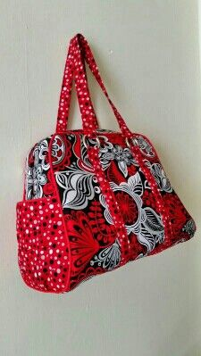 Swoon Vivian handbag.  Red and black floral cotton. Spacious. Swoon sewing patterns.