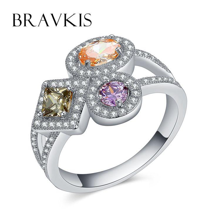 BRAVKIS ур multishape красочные три cz каменные кольца для женщин обручальные кольца обручальное кольцо ringen silberringe ювелирные изделия BUR0363B купить на AliExpress