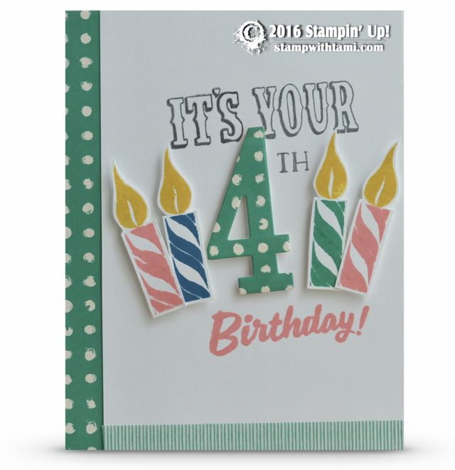 CARD Here's a super fun birthday card created with the new Stampin Up Number of Years stamp set and the Large Number dies. It's great, you can change the #4 to any age to personalize the card. I love