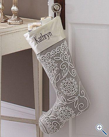 garnet hill silvery grey velvet beaded christmas stocking!  #xmas