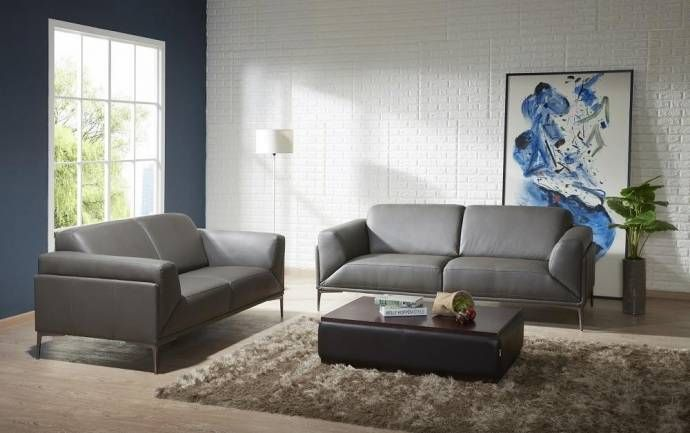 J M King Modern Grey Premium Italian Leather Living Room Set 2pcs Sofa And Loveseat Set Contemporary Sofa Set Leather Living Room Set