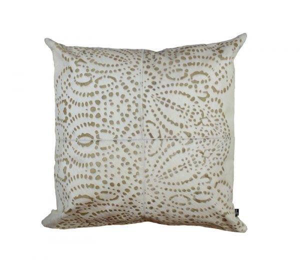 PUNTO LOCO CUSHION - CREAM The Punto Loco laser burn cushion features a reflective pattern inspired by traditional batik.  This statement cushion repeat design creates an eye catching and luxurious aesthetic.  This cushion has been hand made by skilled artisans, each cushion is unique and one of a kind.  Cushion measures 50 x 50cm. Comes with Tonal Suedette Backing.  PET Fill Included.