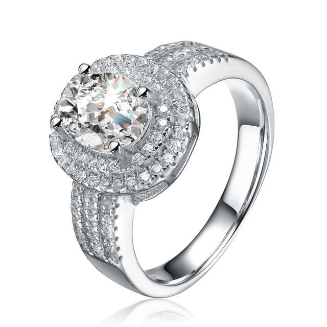 Women's Sterling Silver Oval Cubic Zirconia Double Halo Engagement Ring #JRyanFineJewelry #Halo
