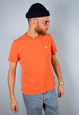 Adidas+Mens+Vintage+T-Shirt+Top+Small+Orange+90's