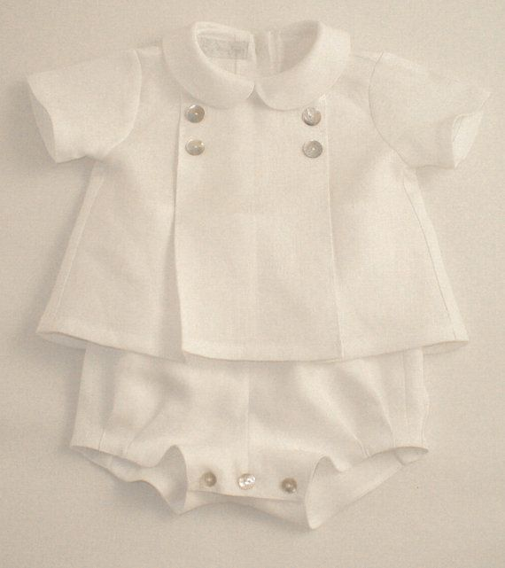 White Linen suit for a Baby Boy by patriciasmithdesigns on Etsy -- $115.00 (that's right ... I'm sure I can make this!)