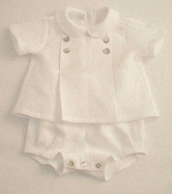 Traje de lino blanco para un niño por patriciasmithdesigns en Etsy