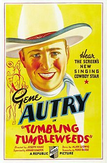"""Tumbling Tumbleweeds is a 1935 American Western film directed by Joseph Kane and starring Gene Autry, Smiley Burnette, and Lucile Browne.[1] Written by Ford Beebe, the film is about a cowboy who returns home after a five year absence to find his father murdered and his boyhood pal accused of the dastardly deed.[2] Tumbling Tumbleweeds features the songs """"Riding Down the Canyon"""", """"That Silver-Haired Daddy of Mine"""", and the Bob Nolan classic """"Tumbling Tumbleweeds""""."""