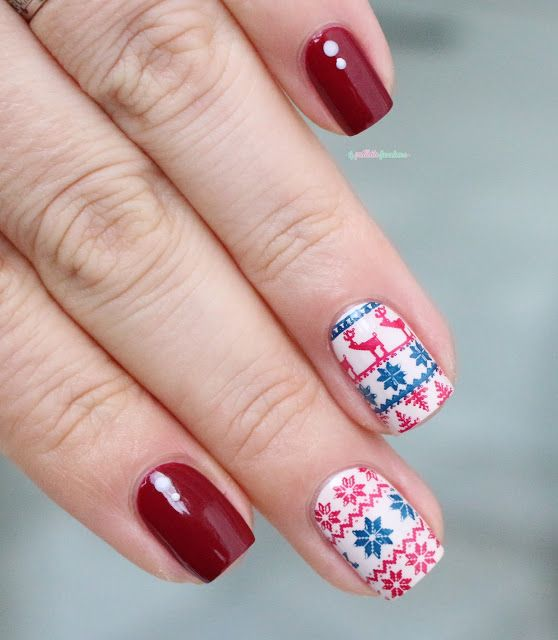 Essie Shall we chalet // Welcome december - blue and red Christmas jumper nail art - moyou London festive collection stamping