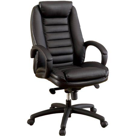 Furniture of America Lamont Tufted Faux Leather Office Chair, Black
