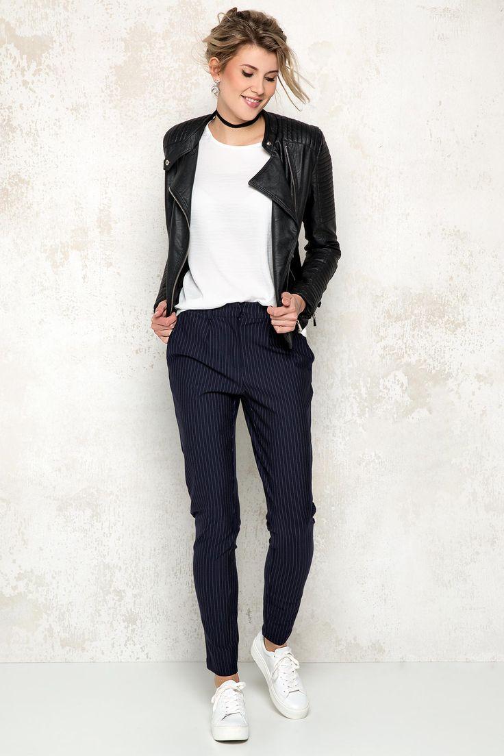 Vila blauwe broek met streep