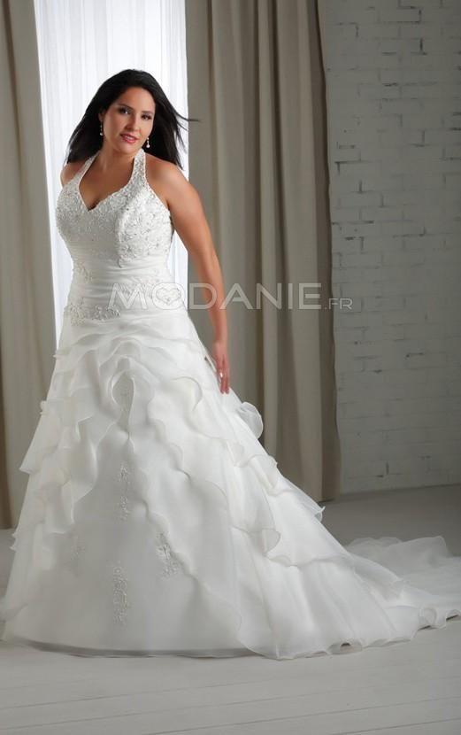 Bretelle au cou robe de mariée grande taille satin et organza avec traîne chapelle [#M1407156026] - modanie