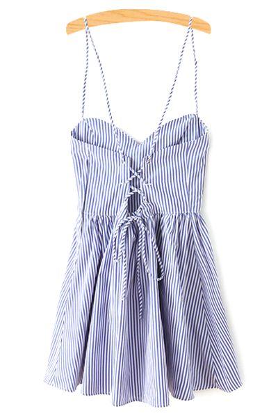 Fitting Striped Spaghetti Straps Sleeveless Dress