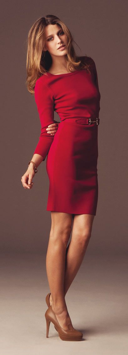 : Red Sweaters, Nude Shoes, Red Dresses, Sweaters Dresses, Lady In Red, Holidays Dresses, Random Pin, Work Dresses, Red Work