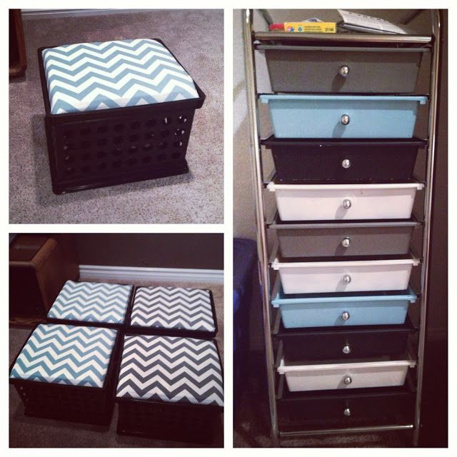 DIY classroom decor. Turquoise and grey chevron crate benches and spray painted storage cart! Easy and affordable