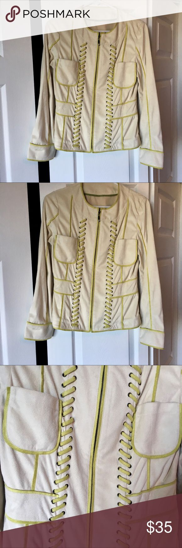 """Cream & Lime Green Jacket This was a designer sample so no real tags - may have been worn once and sitting in my closet. Euro sizing. Bust is 17"""" and 24"""" length. Feels suede like but probably a poly material. Jackets & Coats"""