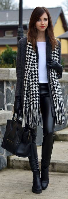 Pied de poule echarpe scarf black and withe