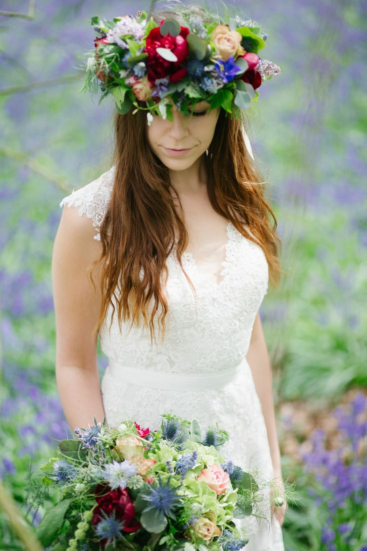 Dress  from www.bridalb.com/surrey   Photographer  http://jessicajillphotography.com  Bridal bouquet and floral crown designed and created by www.hannahberryflowers.co.uk | Dress from www.bridalb.com/surrey