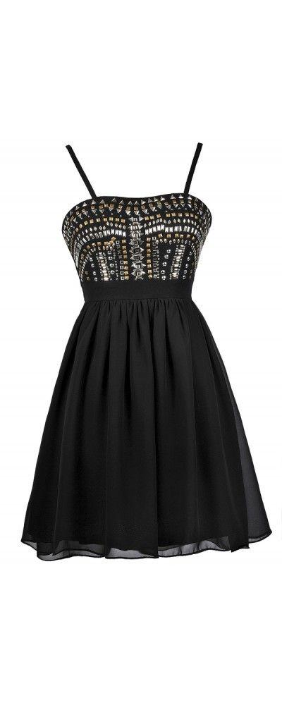 Lily Boutique Heavy Metal Stud Embellished Dress in Black, $40 Black Stud Party Dress, Cute Black Dress, Little Black dress, Black Embellished Dress, Black Cocktail Dress www.lilyboutique.com