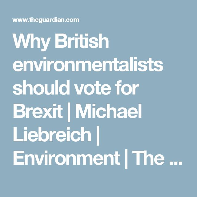 Why British environmentalists should vote for Brexit | Michael Liebreich | Environment | The Guardian