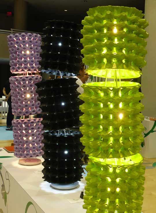 upcycled egg cartons = lamp: Lamps, Wall Art, Crafts Ideas, Lights Shades, Egg Cartons, Cartons Lights, Eggs Cartons, Eggs Crates, Eggcarton