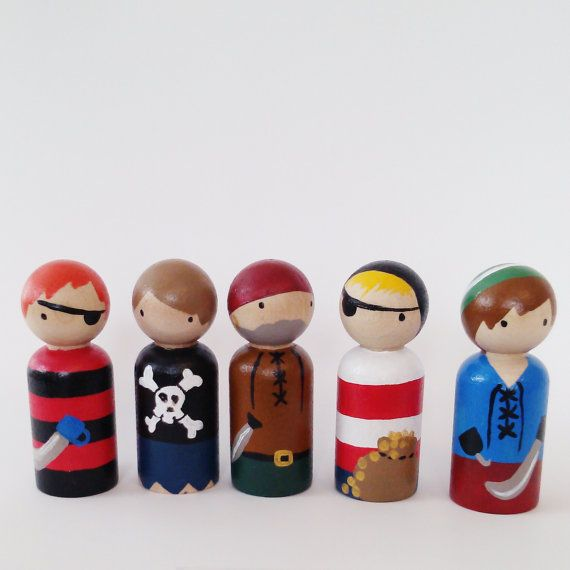set of 5 pirate peg dolls with felt roll up sleeping bag pouch //wooden peg dolls - wooden toys