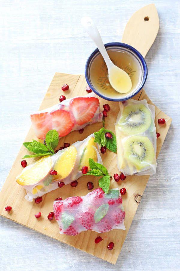 Spring roll facile Un dessert aux fruits d'été zéro kilo ça vous tente ? On n'oublie pas les grains de grenade pour le côté crunchy !  La recette ? Mono gout (Fraise + kiwi + framboise + pêche) +grains de grenade + feuilles de menthe