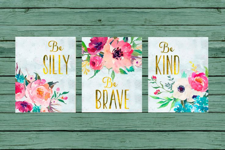 Nursery Wall Art Nursery PRINTABLE Art Baby girl Nursery Decor Pink mint Gold floral turquoise Nursery Set of 3 prints Nursery bouquet by MINTablePrintables on Etsy