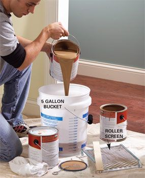"""Mix several cans of paint in a large bucket for a consistent color throughout the room. Paint color may vary slightly from one can to the next. If you have to open a new can in the middle of a wall, the difference may be noticeable. Mixing the paints together eliminates the problem. It's best to estimate the amount of paint you'll need and mix it in a 5-gallon bucket (a process called """"boxing""""). When coverage is difficult to estimate, add more rather than less. You can always pour the…"""