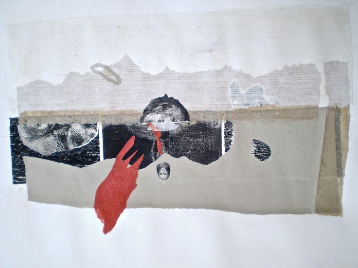 ELAINE d'ESTERRE - 'Sounds of Drought 5', 2014, etching collage 40x60 cm by Elaine d'Esterre at www.elainedesterreart.com and www.facebook.com/elainedesterreart
