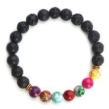 2017 New Natural Black Lava Stone Bracelets 7 Reiki Chakra Healing Balance Beads Bracelet for Men Women Stretch Yoga Jewelry(China (Mainland))