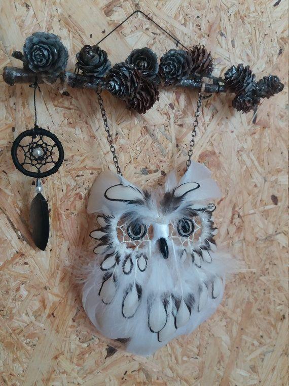 Owl Dream Catcher White Animal Dream Catcher by DreamyFlowerWonder