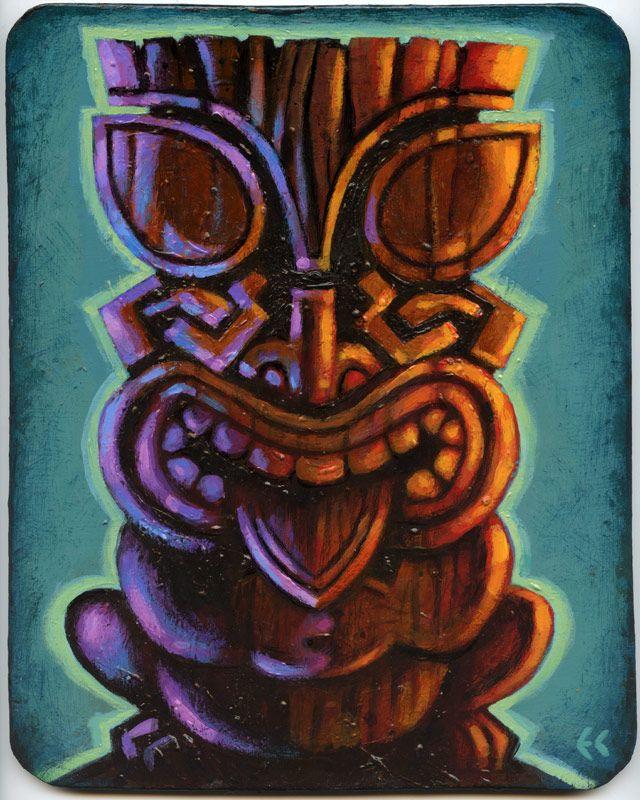 "Tiki God by Eddy Crosby (Acrylic on hardboard 8"" x 10"") www.eddycrosby.com"
